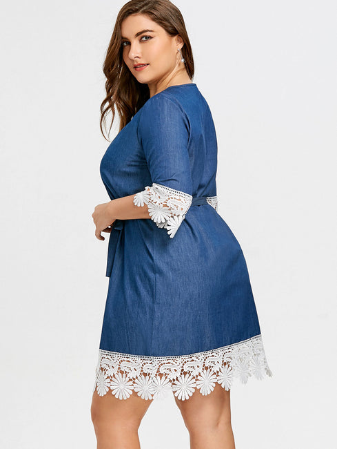 Plus Size 5XL Lace Trim Casual Straight 3/4 Length Sleeves Loose Tunic Dress