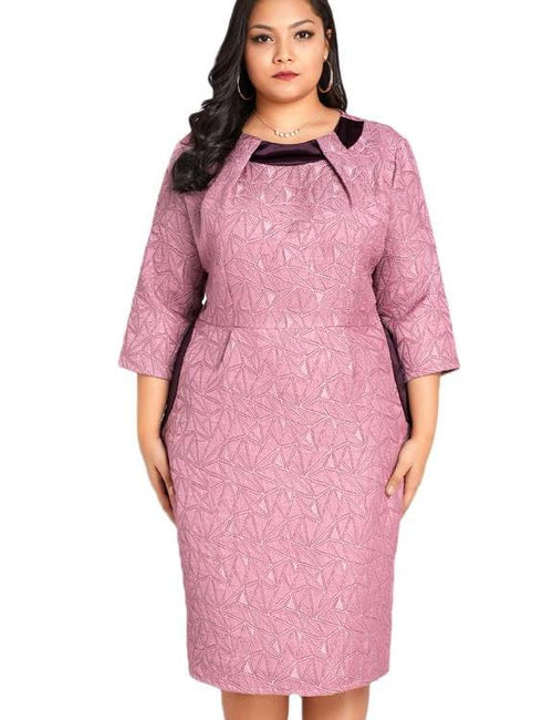Plus Size  Elegant Slim Midi Office Ladies Oversized Bodycon Dress