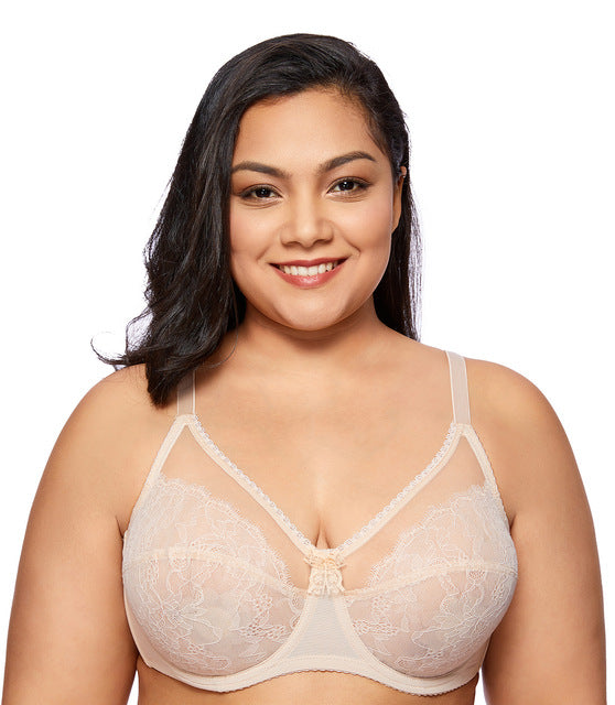 No Padding Sheer Lace Full Cup Unlined Underwire Bra