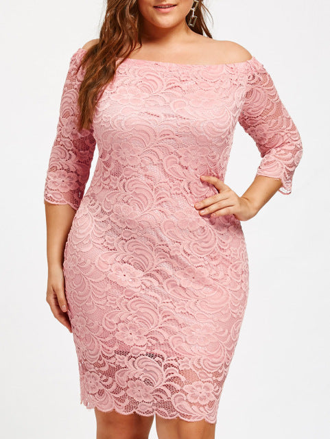 Plus Size Robe Femme Embroidery Lace Off Shoulder Long Sleeve Casual Evening Party Dresses
