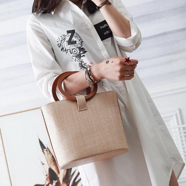 Simple Straw Bag Circular Handle Solid Color