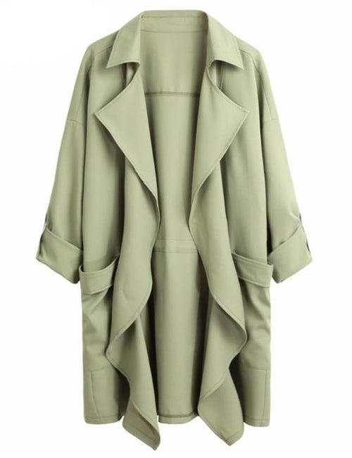 Plus Size Solid Lapel Pocket Rolled Sleeve Trench Coat