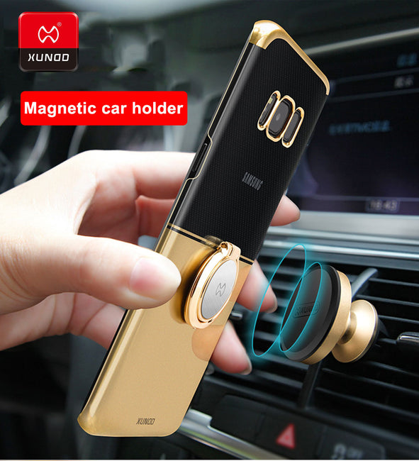 Ring Buckle 360 Protective Magnetic car holder Phone Case For Samsung Galaxy S7 Edge Note 8 9 S8 Plus