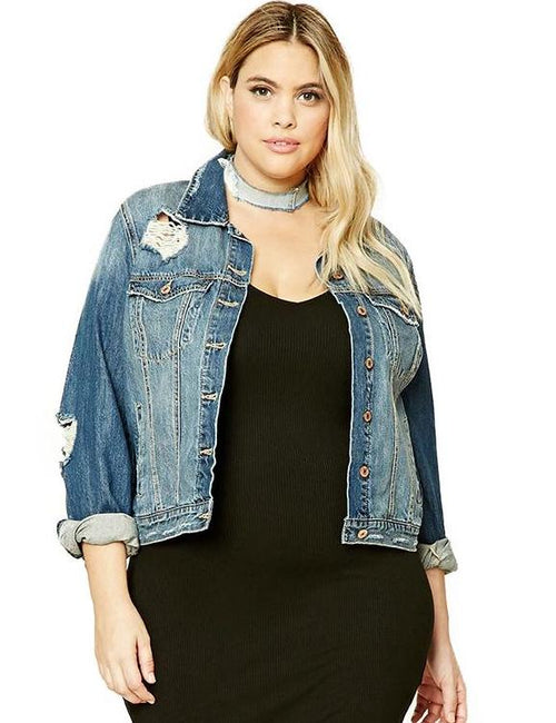 Plus Size Long Sleeve Hole Vintage Denim Jackets