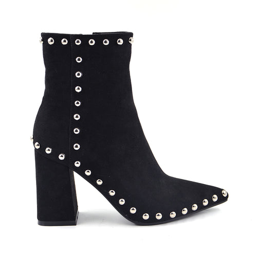 Sheep Faux Suede Rivets Pointed Toe Zipper Metal Buckle Ankle Boots