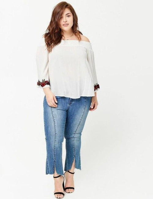 Loose Style Sleeve Embroidery Print White Plus Size Blouse