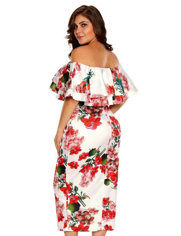 Floral Ruffle Off Shoulder Dress