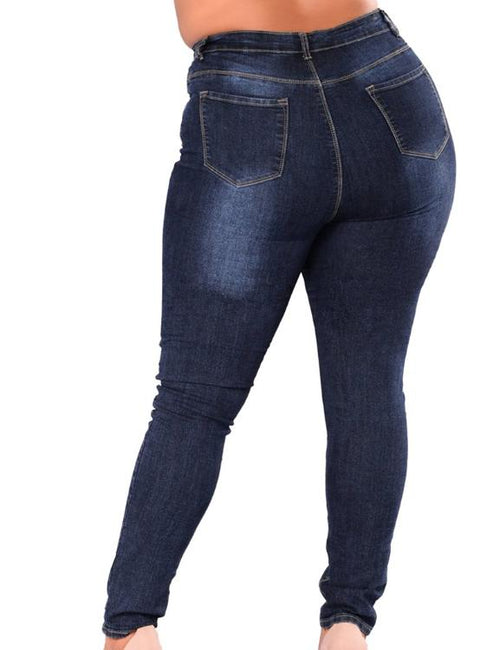 PLUS SIZE High Waist Skinny Pencil Blue Denim Pants Stretch Washed Jeans