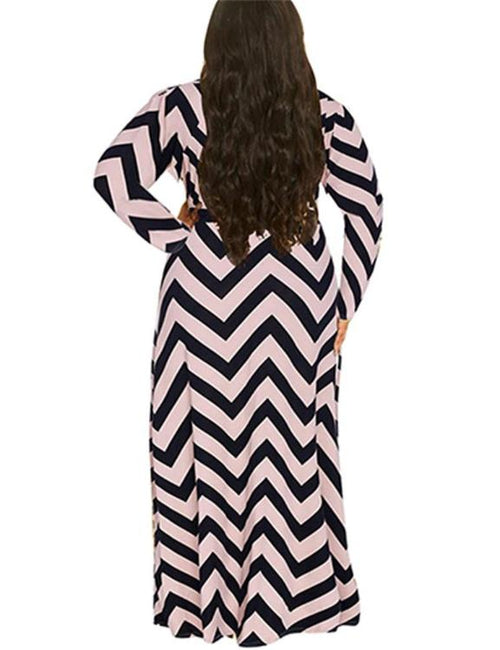 Plus Size Wavy Stripe Maxi Swing Dress