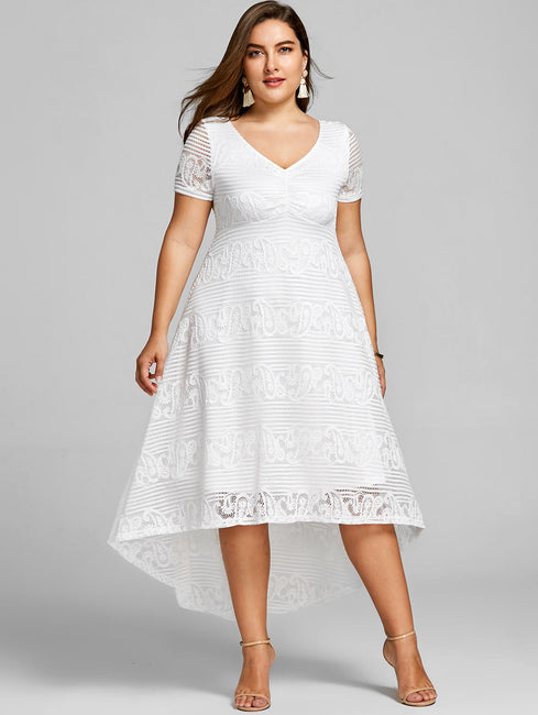 Plus Size 5XL High Low Midi Short Sleeves Empire Waist V-Neck Semi Formal Lace Dress