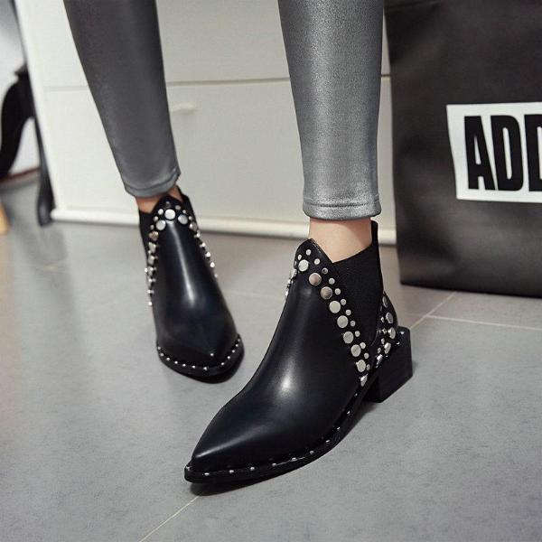 Punk Women Leather Chelsea Bootie Pointed Toe Round Sequins