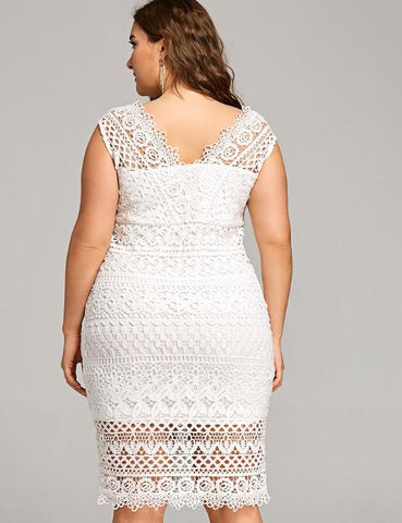 Plus Size Openwork V Neck Lace Print Pencil Dress Party Sleeveless Solid White Bodycon Dress
