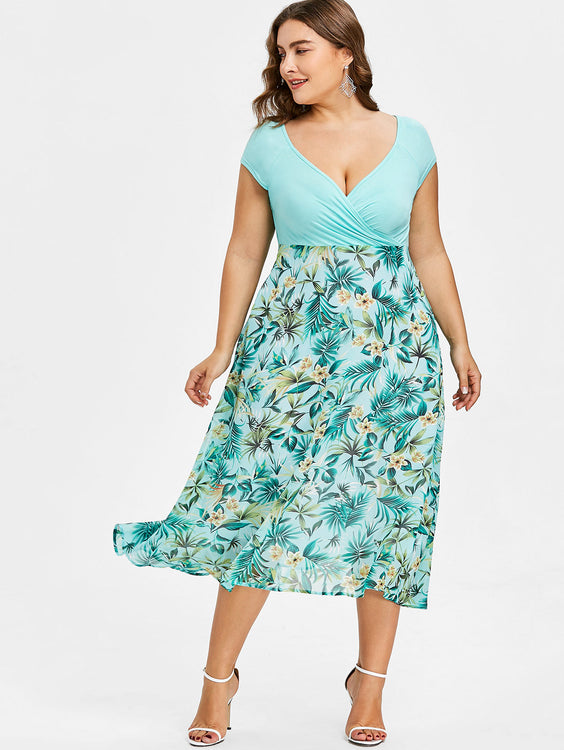 Women Plus Size 5XL Tropical Floral Print V-Neck A-Line Midi Holiday Dress Casual Short Sleeves