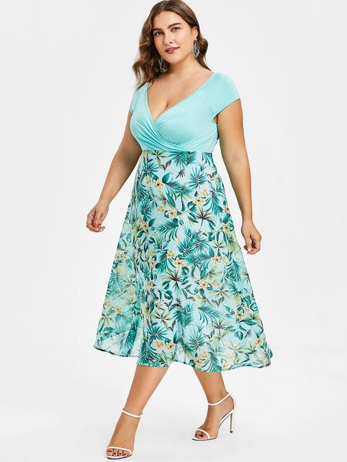 Women Plus Size 5XL Tropical Floral Print V-Neck A-Line Midi Holiday ...