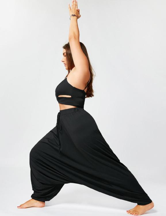 Drawstring High Waist  Loose Harem Pants