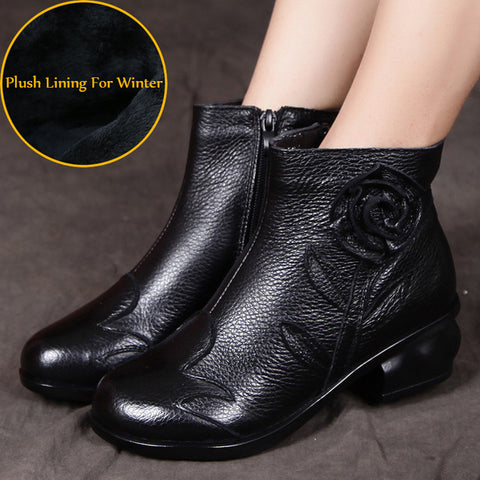 Fashion Women Genuine Leather Boots Handmade Vintage Flower