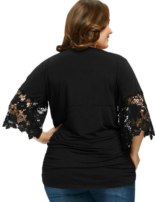 Black V-Neck Three Quarter Flare Sleeve Lace Tees