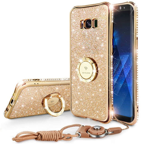 Protection Diamond Rhinestone Case For Samsung Note 8 Case Ring Strap Cover Case
