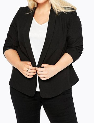 Turn Down Collar Plus Size Chic Pockets Zip-up Jacket