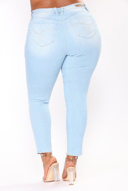 PLUS SIZE High Waist Skinny Pencil Blue Denim Zipper Stretch Washed Jeans
