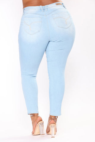 High Waist Skinny Pencil Blue Denim Jeans