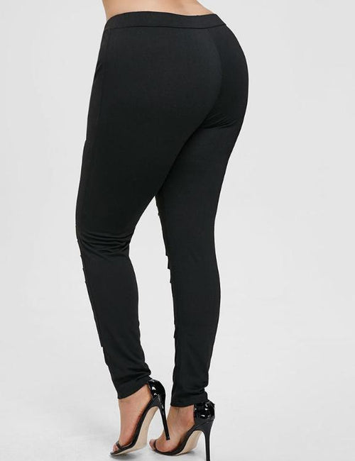 Plus Size Lace Trim Ripped Leggings Skinny Mid Elastic Waist Ladder Cut Out Leggings Fitted Trousers
