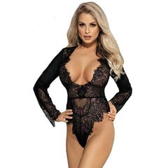 Plus Size Exquisite Lace Long Sleeve Teddy Lace Bodysuits