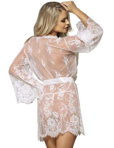 Plus Size Lace Open Bust Porn Dress Sleepwear Gown