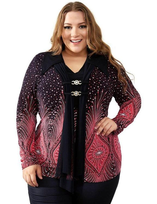 Flare Sleeve Print Diamonds Brooch Plus Size Shirt