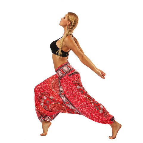 Plus Size Women Indonesian National Digital Print Long Yoga Pants