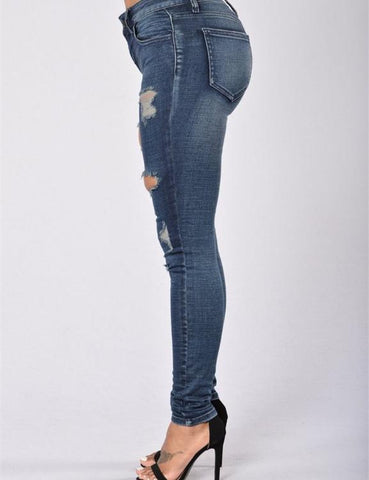Plus Size Lady Fashion Denim Beggar Hole Jeans
