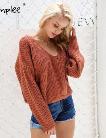 Backless knitting pullover Fashion lace up sweater tops