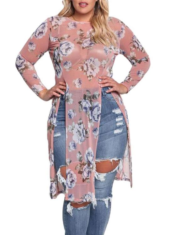 Plus Size Floral See-Through Slit Hole Blouse