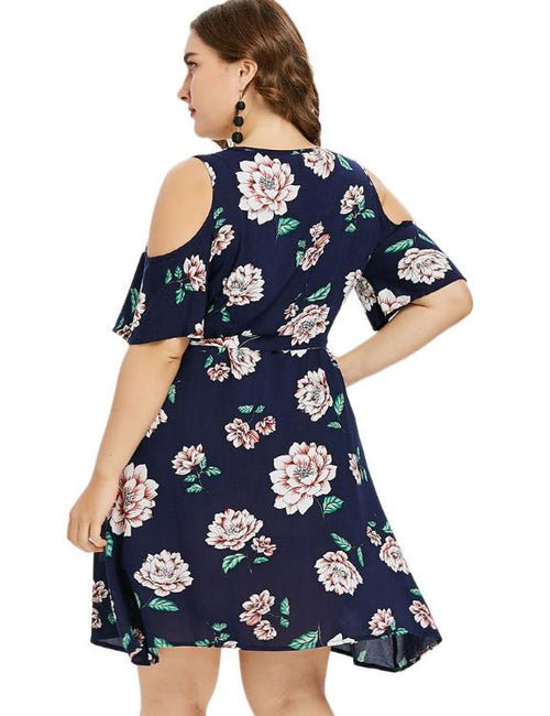 Floral Print Cold Shoulder Wrap Dress Half Sleeves High Waisted Dress