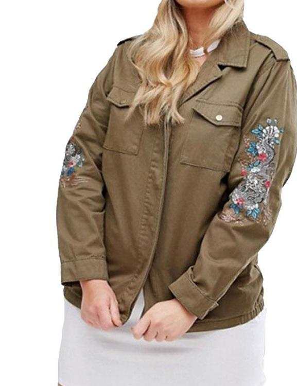 Plus Size Embroidered Military Jacket
