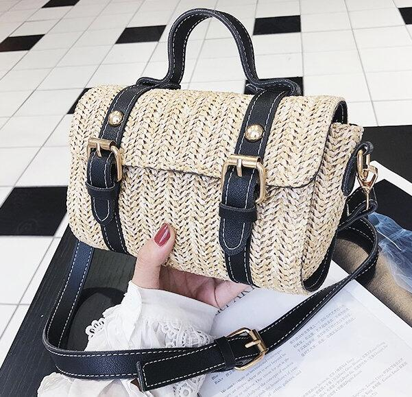 Chic Women Straw Shoulder And Handbag With Buckles Rivets