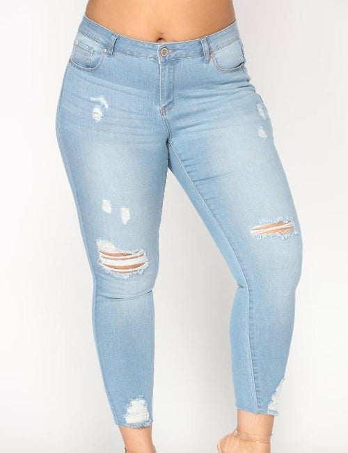Casual Light Blue Hole Slim Stretch Denim Trousers