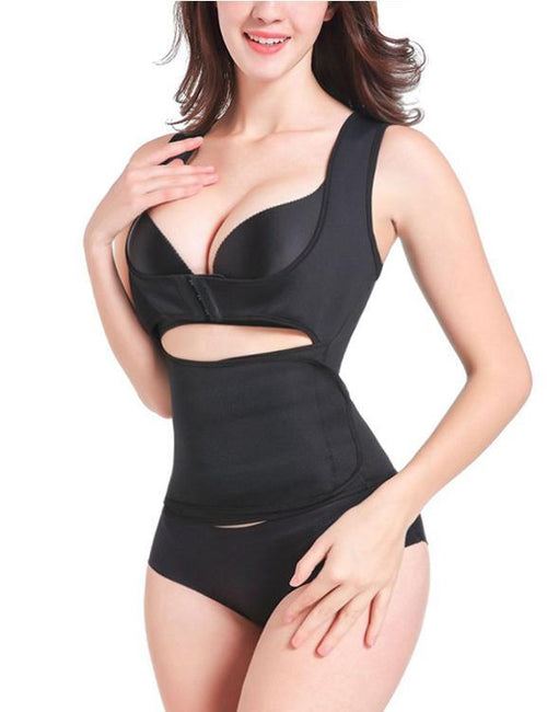 Push Up Sleeveless Slimming Zipper Hook Control Waist Shapewear