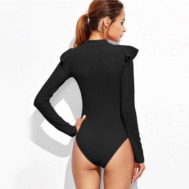 Women Black Stand Collar Long Sleeve Mid Waist Skinny Bodysuit