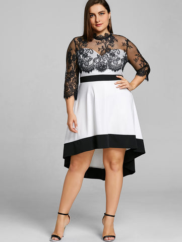 Plus Size Floral Lace Sheer Vintage Night Party Club Mesh Dress