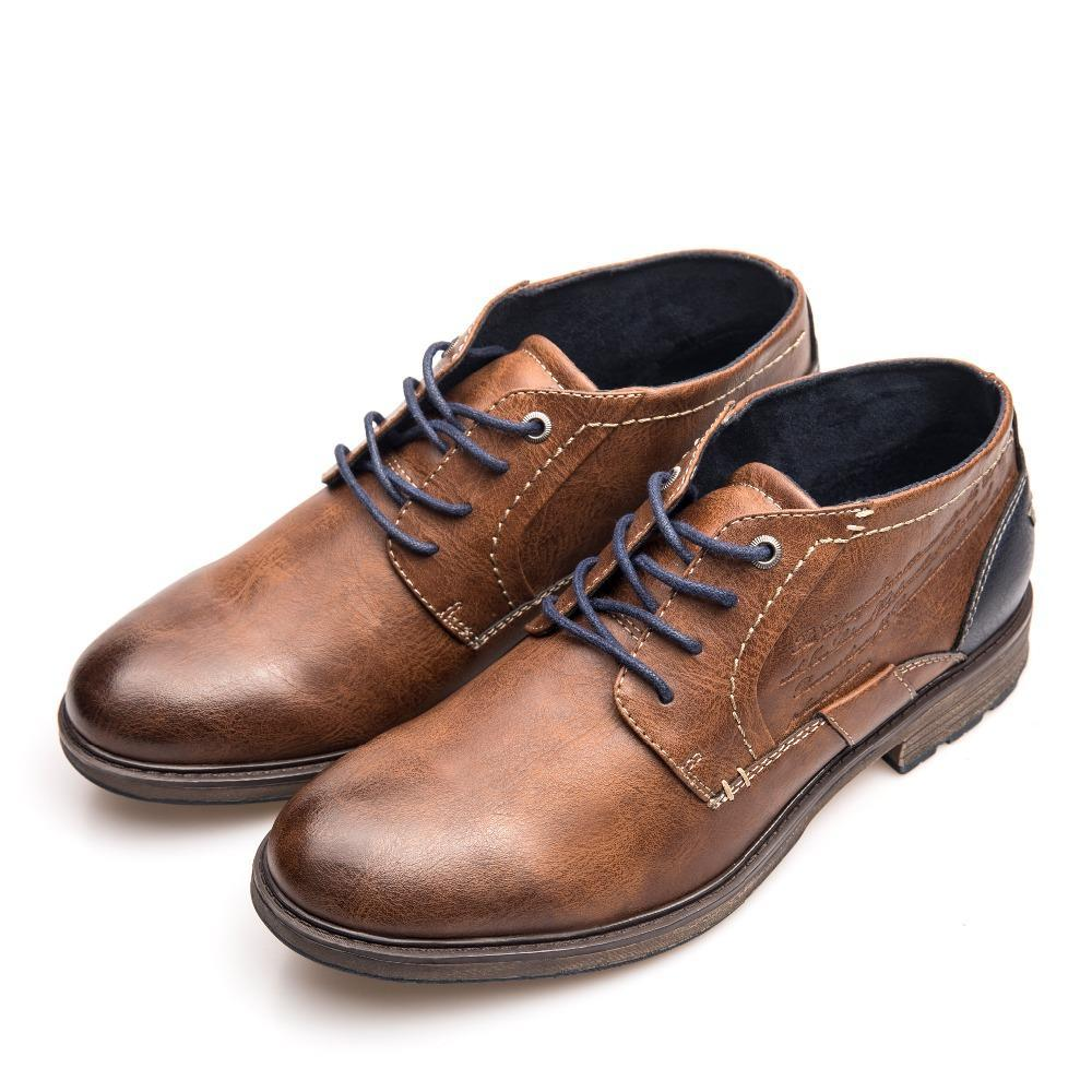 Big Size Men Retro Leather Ankle Shoes Lace Up