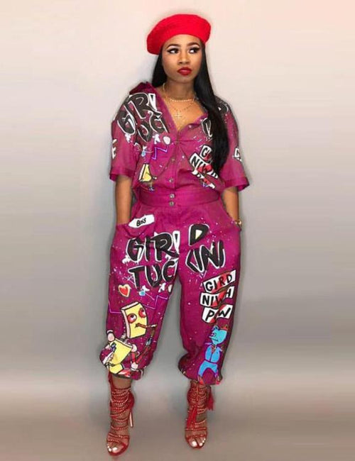 Hip Hop Style Special Letter Half Sleeve Jumpsuit