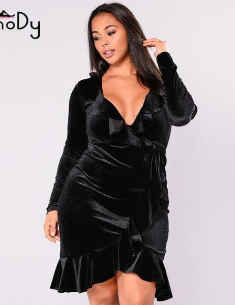 Plus Size V Neck Ruffles Long Sleeve Tunic Wrap Dress