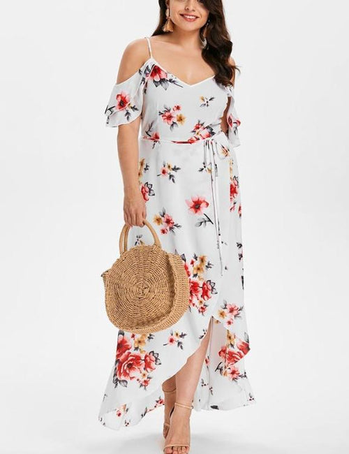 Floral Print Irregular V-Neck Off Shoulder Dress