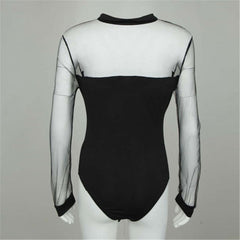 Women Sexy Bow Black Mock Neck Patchwork Long Sleeve Bodysuit