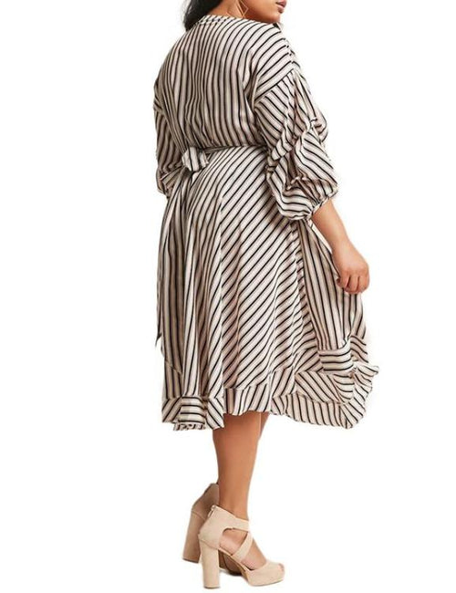 Plus Size Striped Lantern Sleeve V Neck Ruffles Wrap Dress