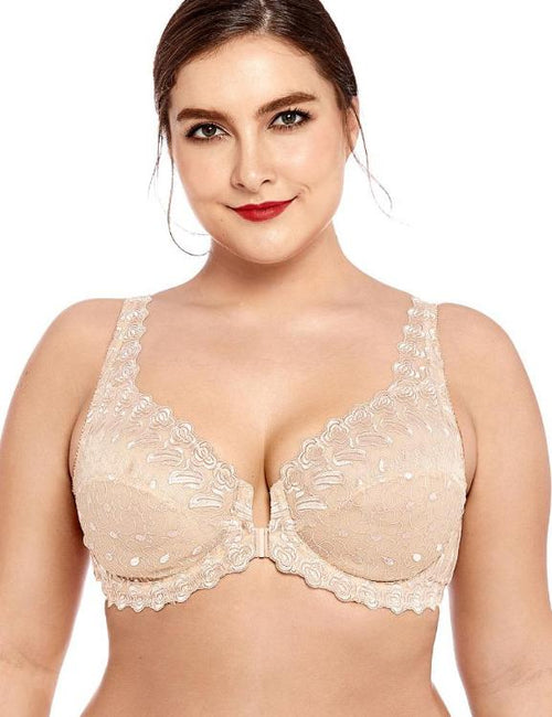 Unlined Support Embroidered  Underwired Lace Front Close Bra