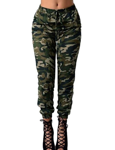 Print Elastic Waist Casual Oversized Camouflage Pants