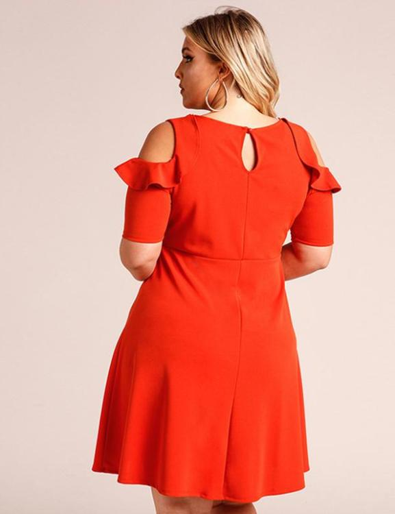 Cold Shoulder Ruffles A-Line Casual Midi Dress