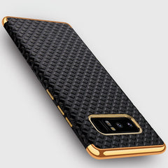 Luxury Gold Plated Frame 3D Bugle Grid Leather Skin Soft TPU Case For Samsung Galaxy